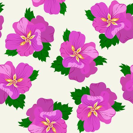 Vector illustration of violet flowers seamless pattern. Hand drawn illustration.