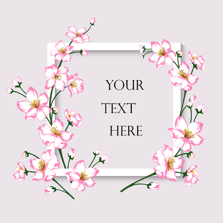 Vector illustration of greeting card. White frame with pink spring blossom flowers on grey background.