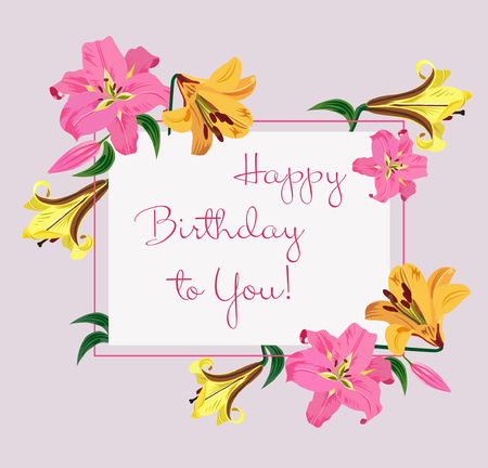 Happy Birthday greeting card with colorful lilies flowers vector illustration. Pink, yellow and violet lily buttons with green leaves on light gray background hand drawn. Çizim