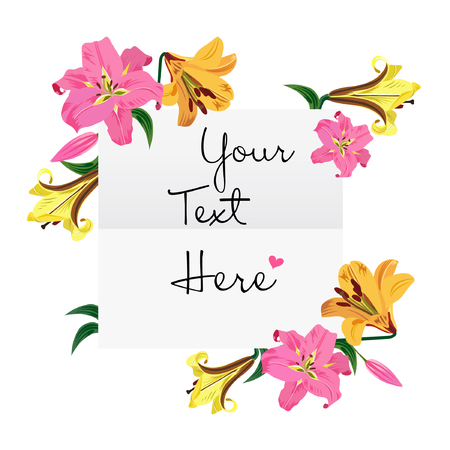 Greeting card with hand drawn lily flowers white background vector illustration.