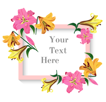 A Vector illustration of greeting card with colorful lilies flowers. Pink, yellow and orange lily buttons with green leaves on white background. Hand drawn.