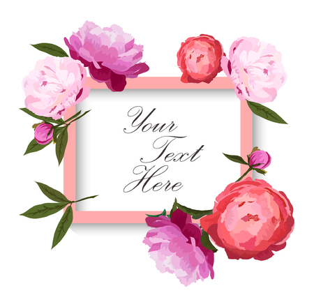 Vector illustration of greeting card or invitation with romantic peonies flowers frame. Red, pink and violet peonies buttons with green leaves on white background. Hand drawn.
