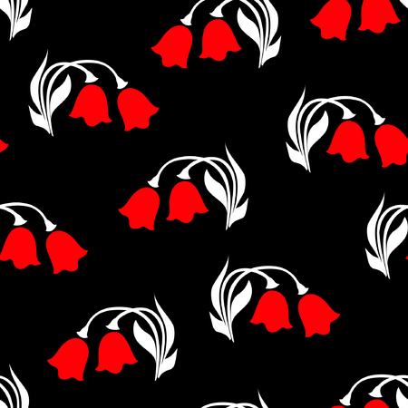 Vector illustration of red tulips with white leafs seamless pattern on black background. Hand drawn. Çizim