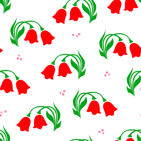 Cute red tulips with green leafs vector seamless pattern on white background, hand drawn.