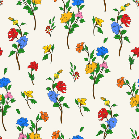 Vector illustration of hand drawn flowers on a branches. Imaginary colorful flowers and leaves. Seamless pattern on light background.