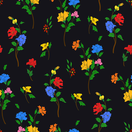 A Vector illustration of hand drawn flowers on a branches. Imaginary beautiful flowers and leaves Seamless pattern on black background.