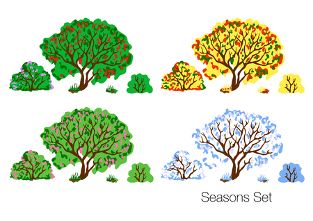 Set of four seasons vector illustration. Hand drawn winter, spring, summer and fall nature. Çizim
