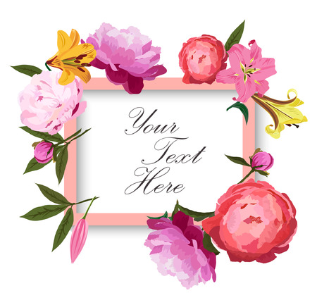 Romantic greeting card with peonies and lilies. Stock Illustratie