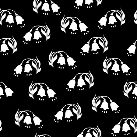 Black and white flowers seamless pattern.