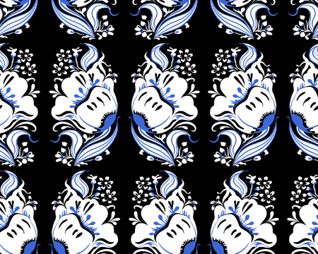 Beautiful fantasy white and blue flowers with leaves. Vector illustration seamless pattern on black background. Hand drawing. Çizim