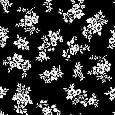 Black and white rose flowers seamless pattern. Vector illustration of white rose on black background. Hand drawn.
