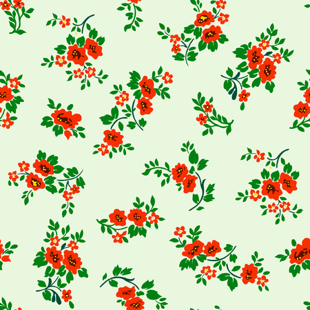 Vector illustration of red roses seamless pattern. Red roses, green leaves on light background. Hand drawn. Çizim
