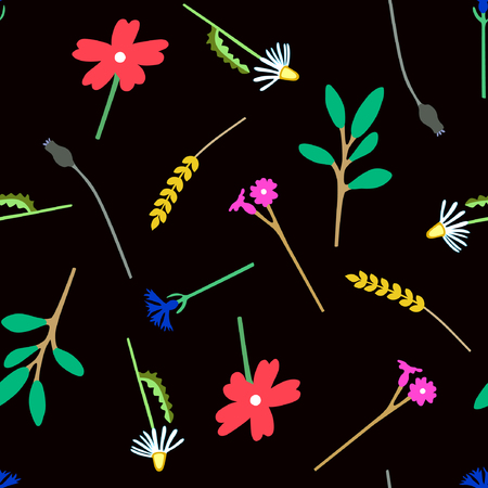 Seamless flower pattern of fun colorful plants. Hand drawn chamomile, bluebottle, bells, wheat, poppy and branch with leaves on black background. Vector illustration. Çizim