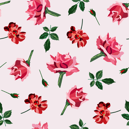 Soft pink, red roses and green leaves seamless pattern. Vector illustration. Hand drawn. Çizim