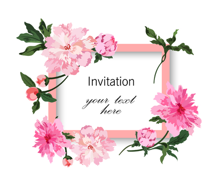 Invitation card with pink and light cream peonies. Colorful flowers with leafs on white background. Hand drawn vector illustration. Çizim