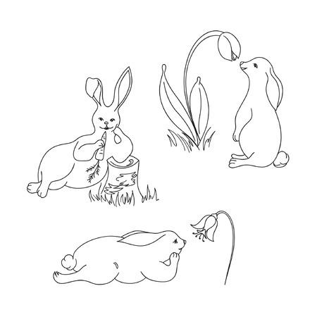 Black and white sketch of rabbits. Vector hand drawn rabbits.