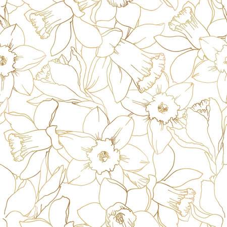 Narcissus flowers contour seamless pattern gold gradient