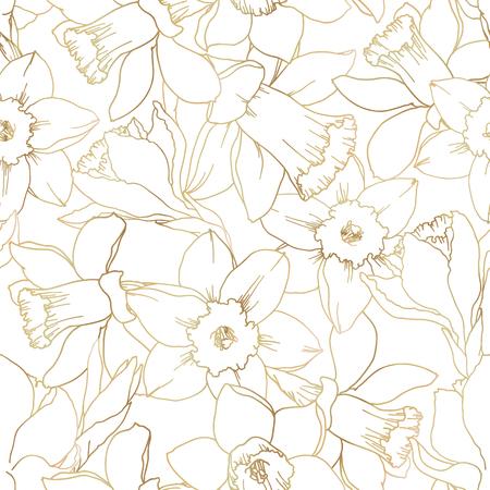 Narzissenblumen konturieren nahtlosen Mustergoldverlauf