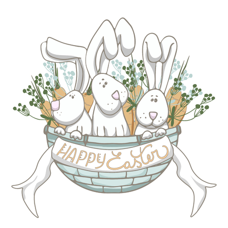 Hand drawn illustration of three easter rabbits sitting in blue basket with happy Easter lettering