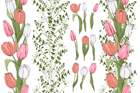 Beautiful seamless boarders with tulips and herbs borders and isolated flower elements Vectores