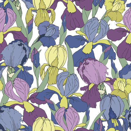 A seamless pattern with blue yellow and purple iris flowers