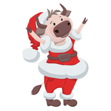 Cute vector illustration with an ox in christmas costume - chinese zodiac symbol Vetores