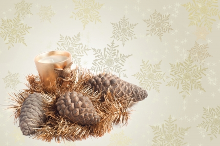 Tinsel, candle and pines, Christmas decoration