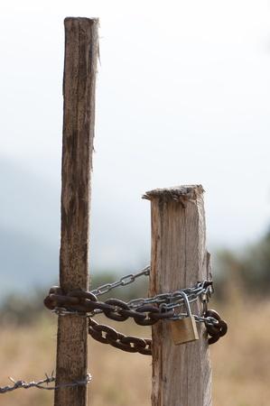 closure: Closed lock in a mountain closure