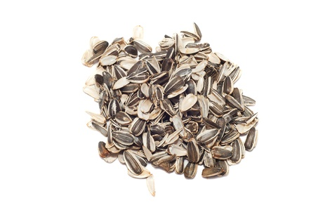 empty shells of sunflower seeds isolated on white