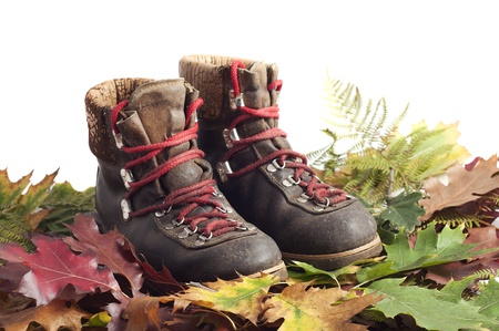 mountain boots on a autumn leaves carpet Stock Photo