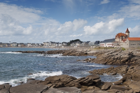Panoramic of the beach and the town of Quiberon, Brittany