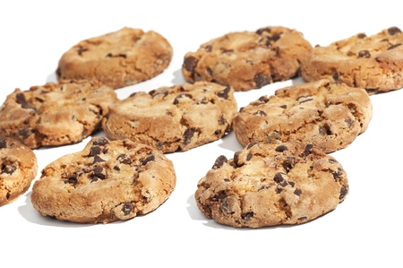 aligned: Chocolate cookies aligned, isolated on white background