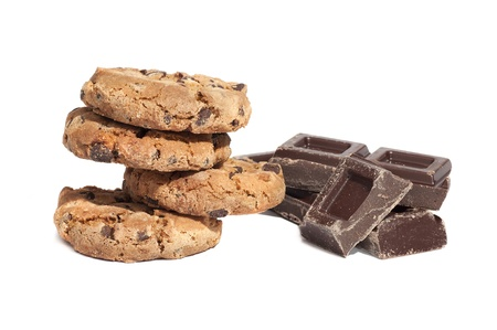 Cookies and chocolate pieces, isolated on white background photo