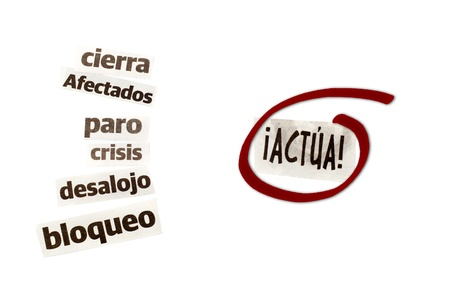 palabras: words cut from newspapers, crisis-related Stock Photo