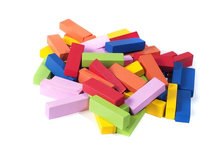 wooden building blocks, in many colors, isolated on white background Stock Photo - 17700007