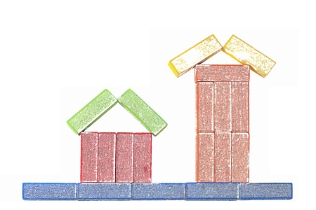 houses made with wooden colored blocks, painted with pencils Stock Photo - 17700015