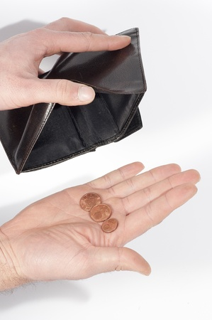 hand holding a wallet almost empty, with a few coins, isolated on white Stock Photo