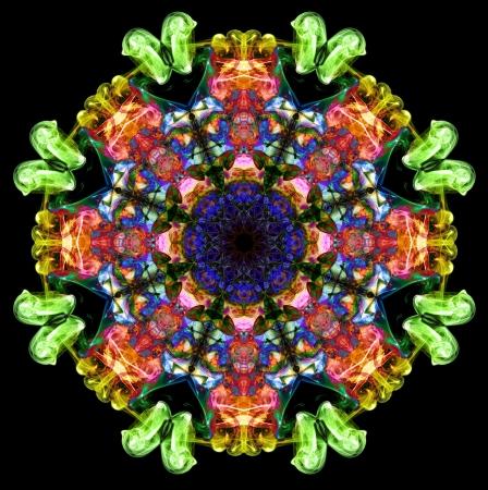 Colorful fractal smoke pattern, kaleidoscope forms