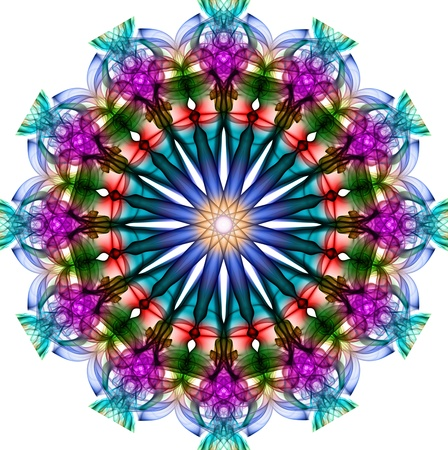 Colorful fractal smoke pattern, kaleidoscope forms photo