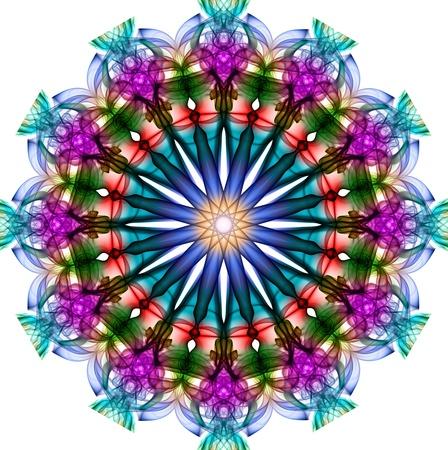 green smoke: Colorful fractal smoke pattern, kaleidoscope forms
