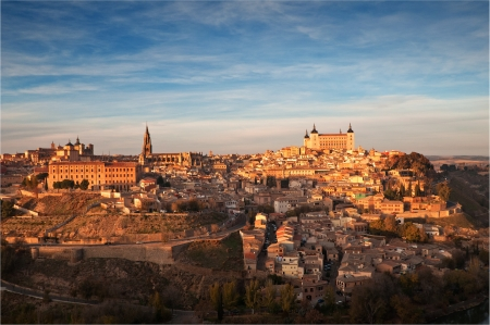 panoramic view of the city of Toledo, during sunset Stock Photo