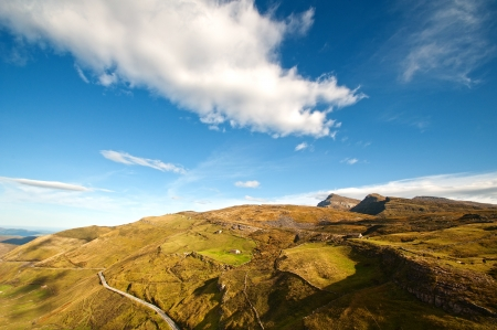 mountains, valleys and pastures seen from above Stock Photo