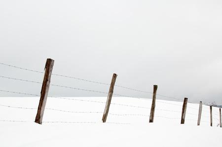 Eins�tze und Stacheldraht in den verschneiten Wiesen