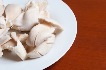 raw mushrooms in a plate on wooden table photo