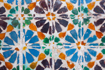 Colorful tile detail, typical in Lisbon, Portugal photo