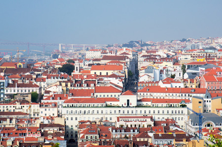 aereal: Lisbon city, Portugal. Aereal view on sunny day from San Jorge Castle