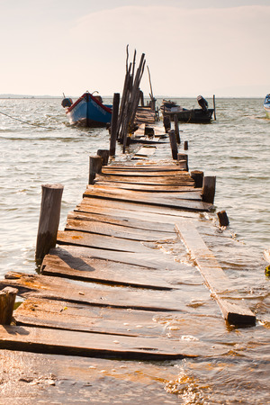 Carrasqueira, Portugal. Port made of wood, piers and cabins