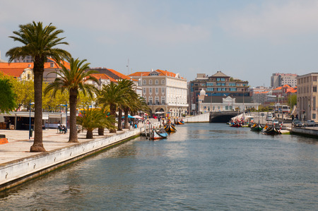 Aveiro city view. Boats on the river. Portugal.