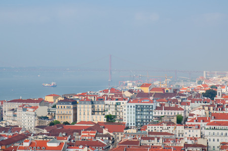 Lisbon city, Portugal. Aereal view on sunny day  photo