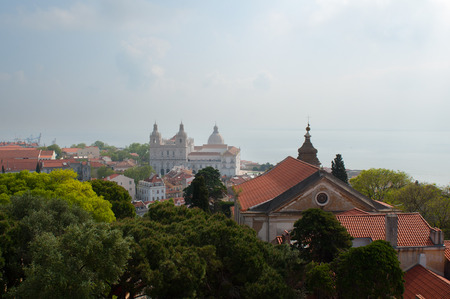 aereal: Lisbon city, Portugal. Aereal view on sunny day  Stock Photo